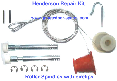 Henderson Garage Door Kit Cables and Roller Spindles (circlip)