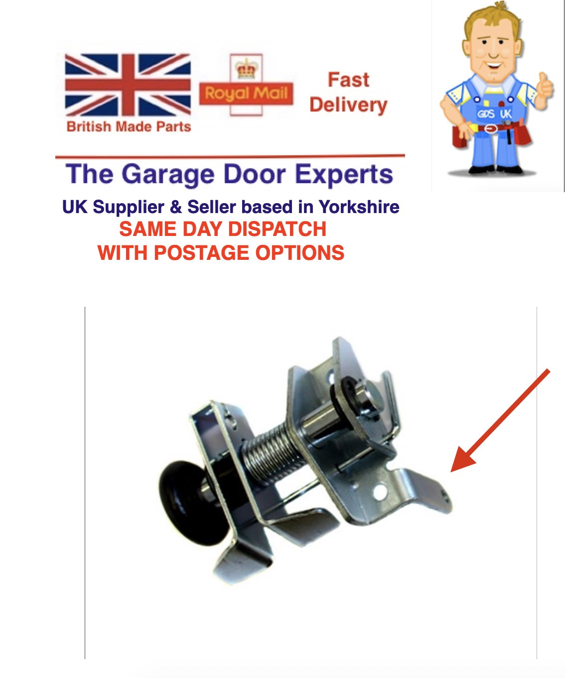 Henderson Premier CASTLE Garage Door Anti Drop Roller Spindle Bracket Left Side