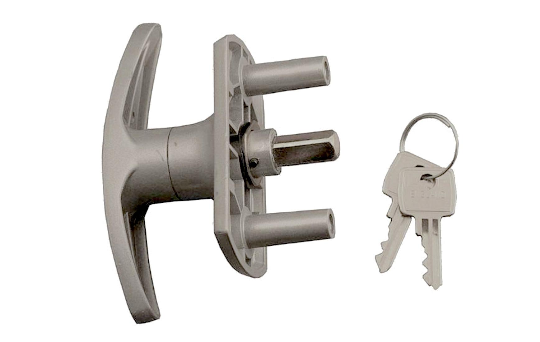 Henderson Merlin T Bar Locking Handle Silver Short Spindle Shaft